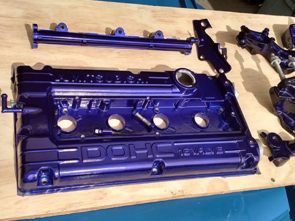 Purple powder coated parts